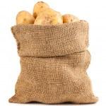 Ripe potatoes in burlap sack — Stock Photo #27097559
