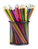 Various color pencils in metal container — Stock Photo