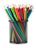 Färgpennor i svart office cup — Stockfoto