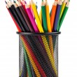 Set of color pencils in a basket — Stock Photo