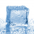 Stock Photo: Ice cube with drops of water