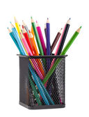 Color pencils in black metal container — Stock Photo