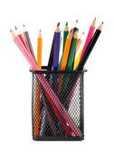 Various color pencils in black metal container — Stock Photo