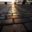 Rays of sun over parapet on tile sidewalk — Stock Video