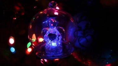 Christmas decoration on Christmas tree — Stock Video
