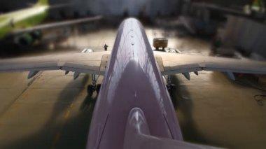 Airplane hangar start — Stock Video