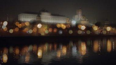 Noční kreml nábřeží bokeh — Stock video