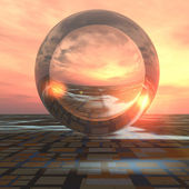 Future Crystal Ball on Grid Horizon — Stock Photo