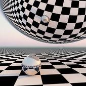 Checkered Surreal Horizon — Stock Photo