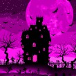Wektor stockowy : Scary halloween vector with magical abbey. EPS 8
