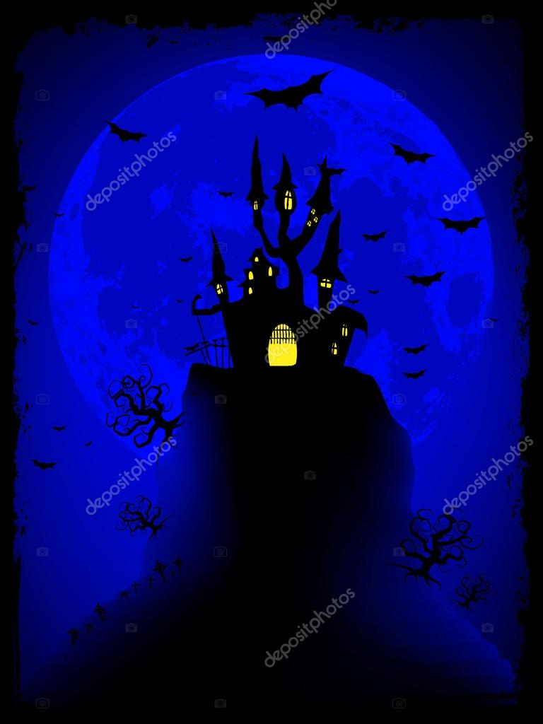 Scary halloween vector with magical abbey. EPS 8 vector file included    #12670076