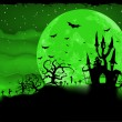 Halloween poster with zombie background. EPS 8 -  