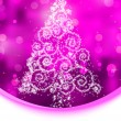 Christmas tree illustration on purple bokeh. EPS 8 - Stockvektor