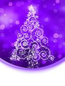 Christmas tree illustration on violet bokeh. EPS 8 — Stock Vector
