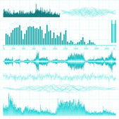 Sound waves set. Music background. EPS 8 — Vector de stock