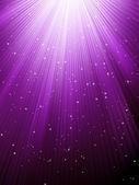 星星落上紫色发光的射线。8 eps — 图库矢量图片