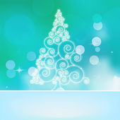 Christmas abstract tree on a blue bokeh EPS 8 — Vector de stock