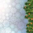 Christmas tree branch on a blue background. EPS 8 — Stockvektor