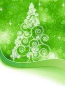 Christmas halftone tree on a green. EPS 8 — Stock Vector