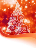 Christmas halftone tree on a orange EPS 8 — Stock Vector
