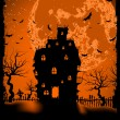 Scary halloween vector with magical abbey. EPS 8 - 