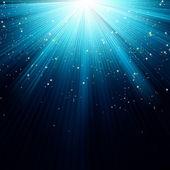Neve e estrelas caindo sobre raios azuis. — Vetor de Stock