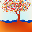 Valentine tree, love, leaf from hearts. EPS 8 — Stock Vector