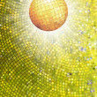 Gold disco ball on burst with mosaic detail. EPS 8 — Stock vektor