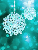 Blue snowflake over bokeh background. EPS 8 — Vector de stock