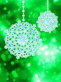 在散景的绿色雪花。8 eps — 图库矢量图片