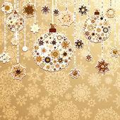 Fondo beige con bolas de navidad. eps 8 — Vector de stock