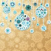 Christmas gold background with baubles. EPS 10 — Stock Vector