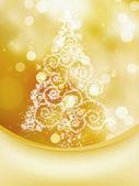 Christmas Tree on bokeh, Greeting Card. — Stock Vector