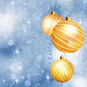 Christmas ball on abstract blue lights. EPS 10 — Stock Vector