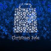 Christmas sale card with shopping bag. EPS 8 — Stock Vector