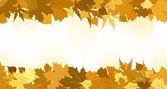 Golden autumn border made from leaves. EPS 8 — Stock Vector
