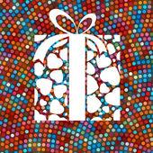 Geschenkbox und bunte punkte. eps 8 — Stockvektor