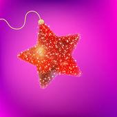 Ansichtkaart met een fonkelende rode ster. eps 8 — Stockvector