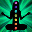 Woman silhouette with chakras on here body. EPS8 — Stock Vector