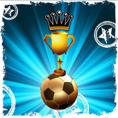 Gold football trophy and crown, behind flash. EPS8 — Stock Vector