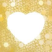 Telaio di bokeh cuore d'oro con spazio di copia. eps 8 — Vettoriale Stock