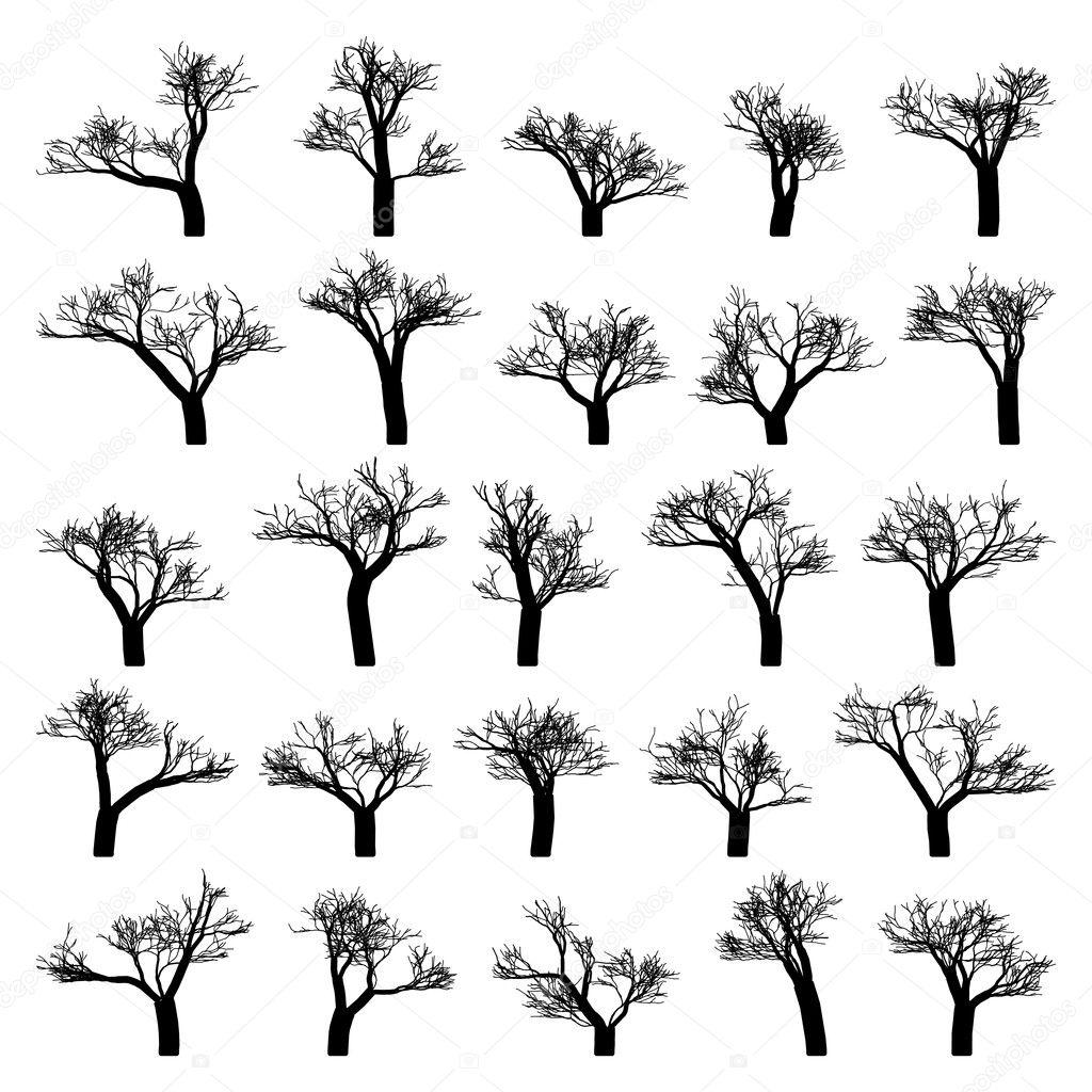 Жуткий дерево силуэт вектор