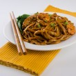 Noodles. stir-fried noodles with chicken — Stock Photo #31909883