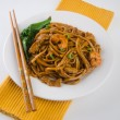 Noodles. stir-fried noodles with chicken — Stock Photo #31909887