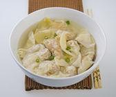 Wonton Soup. pork soup asia food — Stock Photo