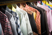 Shirts. man shirts on hangers — Stock Photo