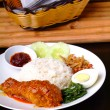 Nasi lemak traditional spicy rice dish — Stok fotoğraf