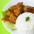 Chicken with rice and vegetables in background — Stockfoto