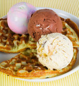 Waffles with ice-cream on background — Stock Photo