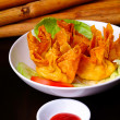 Fried wantons on background — Stock Photo #35001069